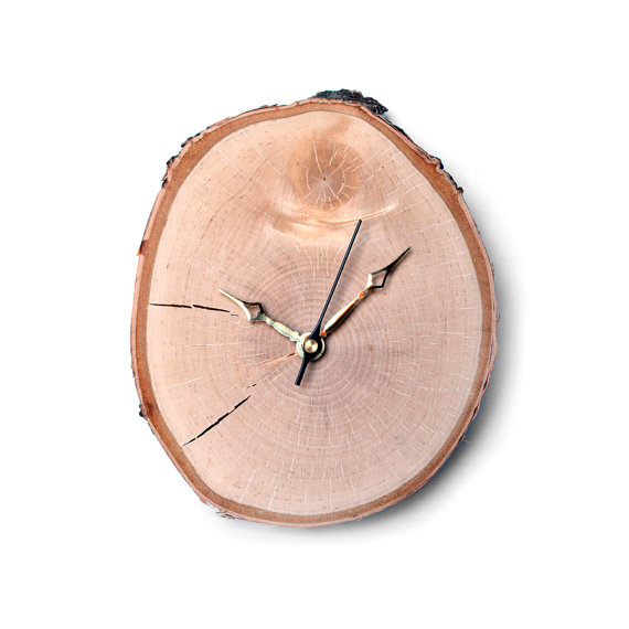 eco etsy birch slice clock
